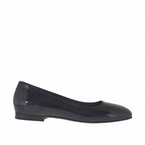 Ballerine pour femmes en cuir verni noir avec bout carré talon 1 - Pointures disponibles:  34