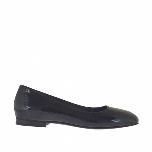 Woman's ballerina in black patent leather with squared tip heel 1 - Available sizes:  33, 34, 43, 46