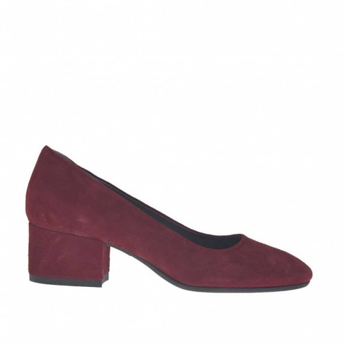 Woman's pump in maroon suede block heel 4 - Available sizes:  32, 33, 43