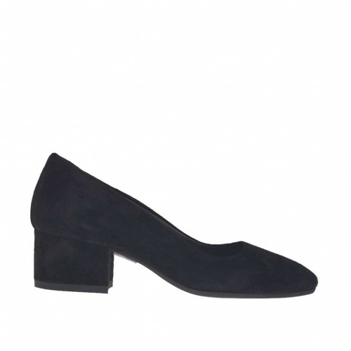 Woman's pump in black suede block heel 4 - Available sizes:  43