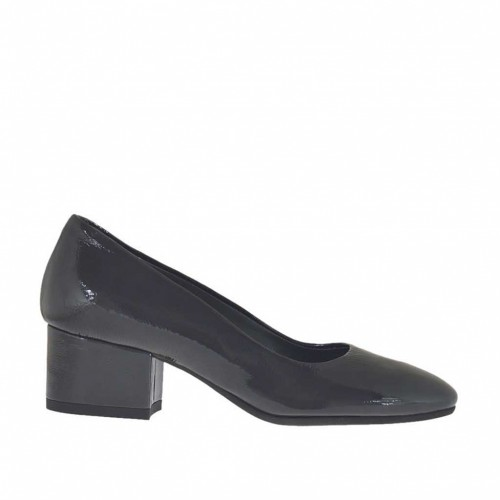 Woman's pump in dark grey patent leather block heel 4 - Available sizes:  33, 42, 43, 45
