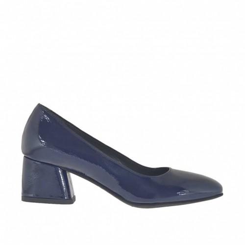 Escarpin pour femmes en cuir verni bleu talon carré 5 - Pointures disponibles:  45