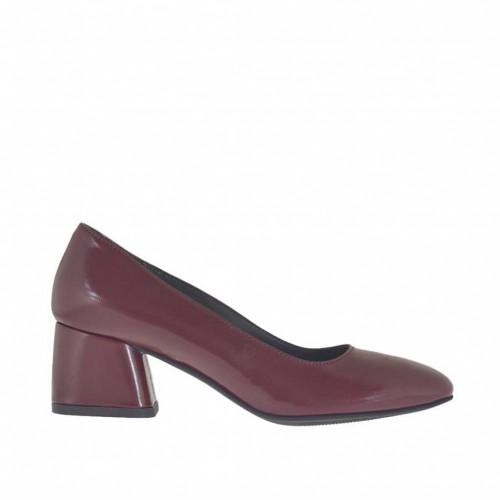Escarpin pour femmes en cuir bordeaux talon carré 5 - Pointures disponibles:  43