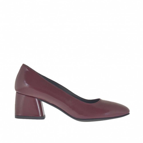 Woman's pump in maroon leather block heel 5 - Available sizes:  43, 45