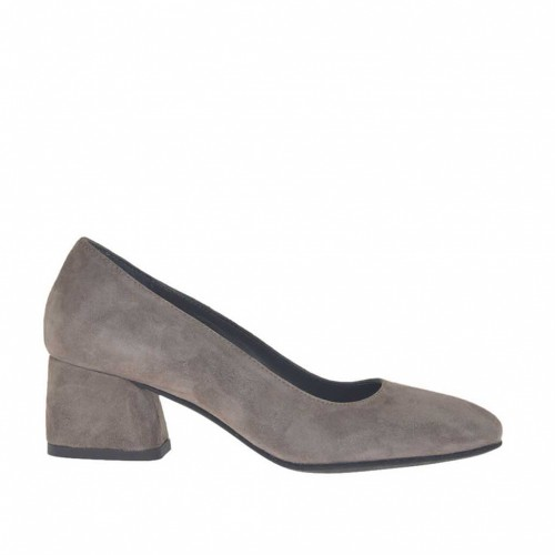 Woman's pump in dove grey suede block heel 5 - Available sizes:  45