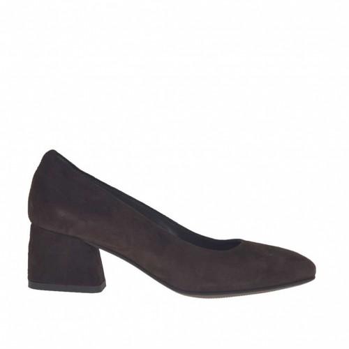 Escarpin pour femmes en daim marron foncé talon carré 5 - Pointures disponibles:  44
