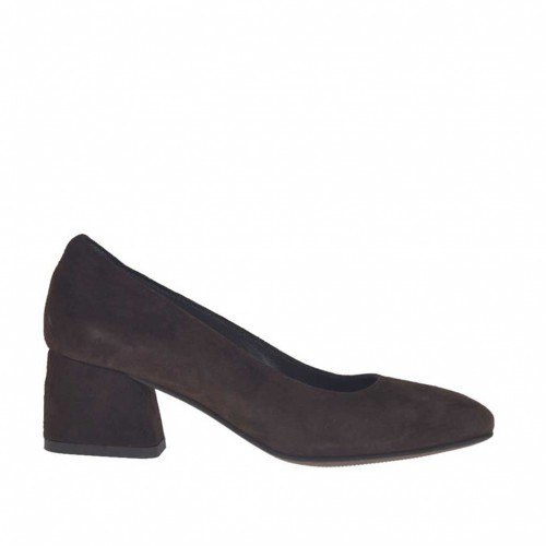 Woman's pump in dark brown suede block heel 5 - Available sizes:  44