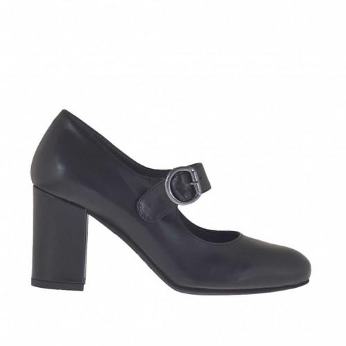 Escarpin pour femmes avec courroie en cuir noir talon 7 - Pointures disponibles:  43, 44