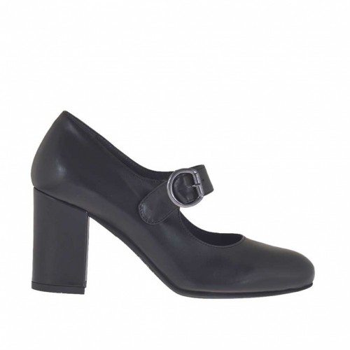 Woman's pump with strap in black leather heel 7 - Available sizes:  43, 44