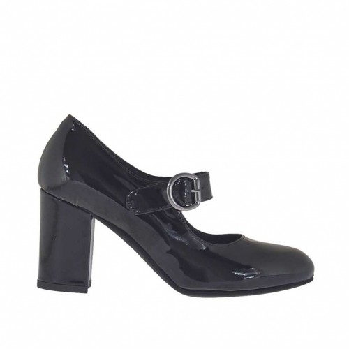 Woman's pump with strap in black patent leather heel 7 - Available sizes:  44