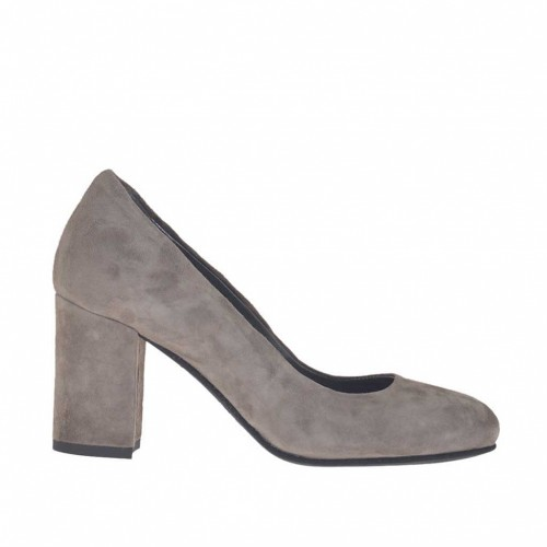 Woman's pump in dove grey suede heel 7 - Available sizes:  42, 43, 44, 45