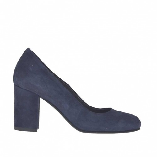 Woman's pump in blue suede heel 7 - Available sizes:  44