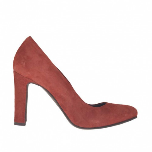 Woman's pump in brick red suede with inner platform heel 9 - Available sizes:  32, 33, 34, 43, 44