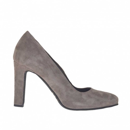 Woman's pump in dove grey suede with inner platform heel 9 - Available sizes:  43