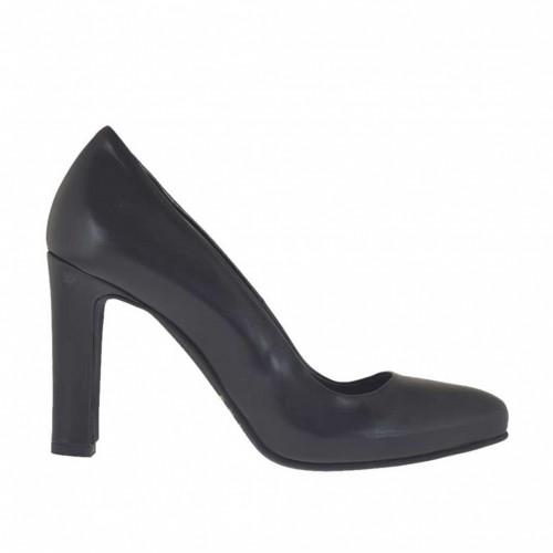 Escarpin pour femmes en cuir noir avec plateforme interieur talon 9 - Pointures disponibles:  43, 44