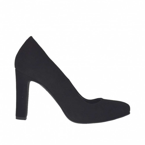 Woman's pump in black suede with inner platform heel 9 - Available sizes:  32