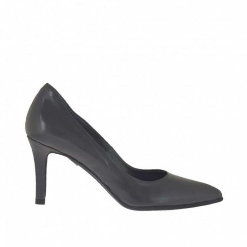 Escarpin pour femmes en cuir gris titane talon 7 - Pointures disponibles:  33, 34, 43, 44, 45