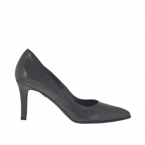 Women's pump shoe in titanium grey leather heel 7 - Available sizes:  32, 33, 34, 43, 44, 45