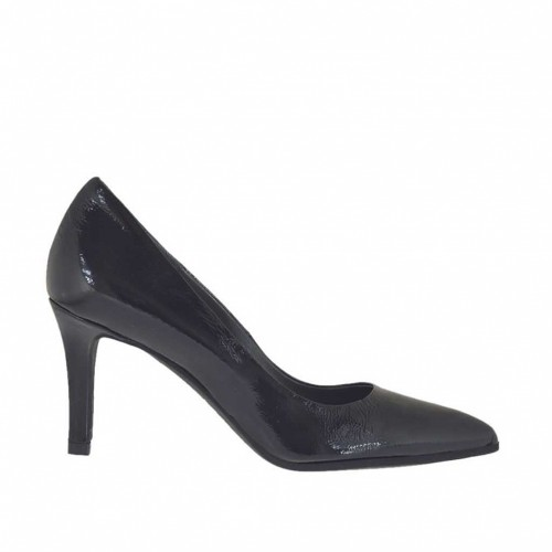 Woman's pointy pump in black patent leather heel 7 - Available sizes:  32, 33, 34, 43, 44, 45