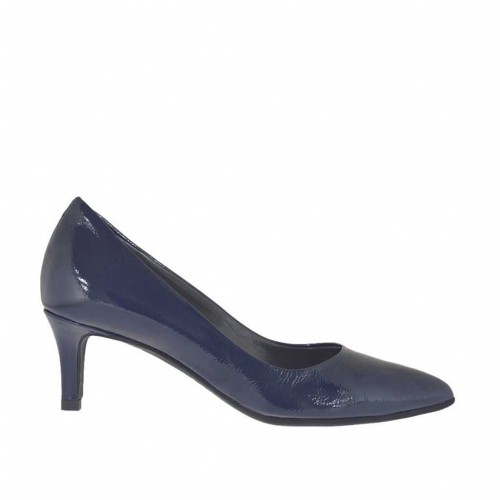 Woman's pointy pump in blue patent leather heel 5 - Available sizes:  32