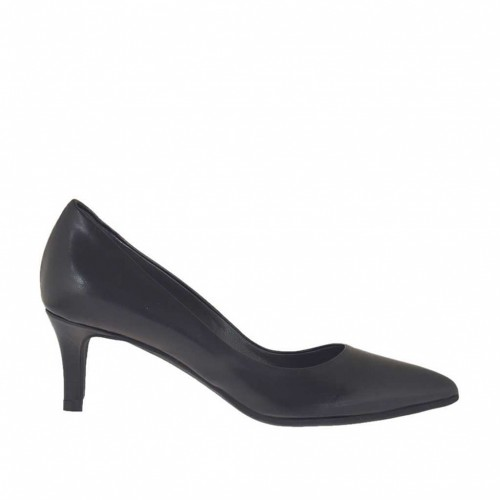 Woman's pump in black leather heel 5 - Available sizes:  34, 44, 45