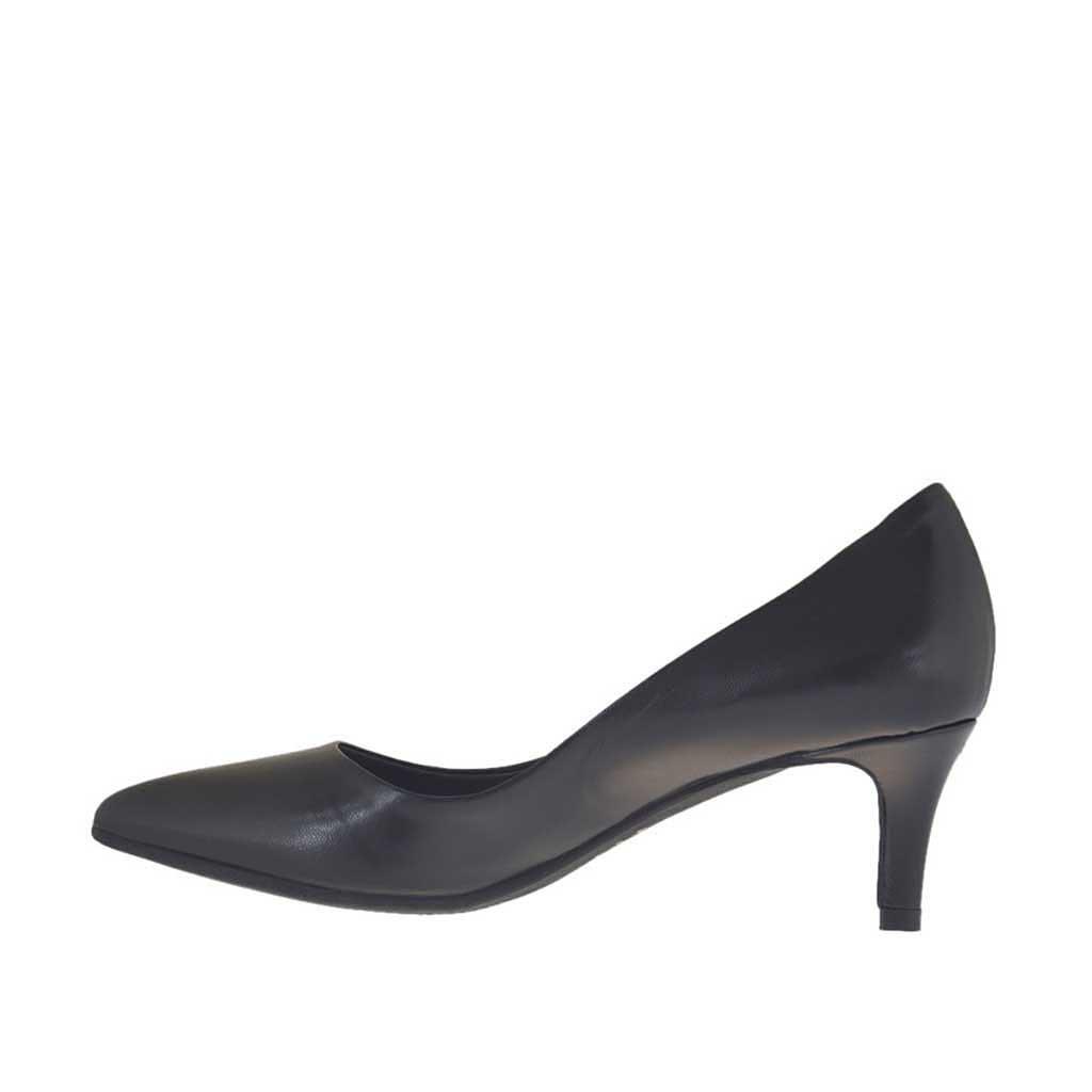 escarpin pour femmes en cuir noir talon 5 ghigocalzature. Black Bedroom Furniture Sets. Home Design Ideas