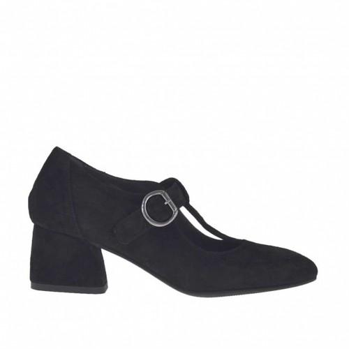 Escarpin pour femmes avec courroie salomé en daim noir talon 5 - Pointures disponibles:  32, 33