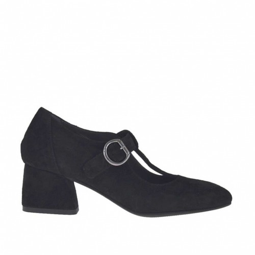 Woman's pump shoe with T-strap in black suede heel 5 - Available sizes:  32, 33