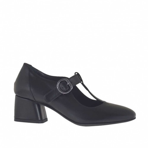 Woman's pump shoe with T-strap in black leather heel 5 - Available sizes:  43, 44