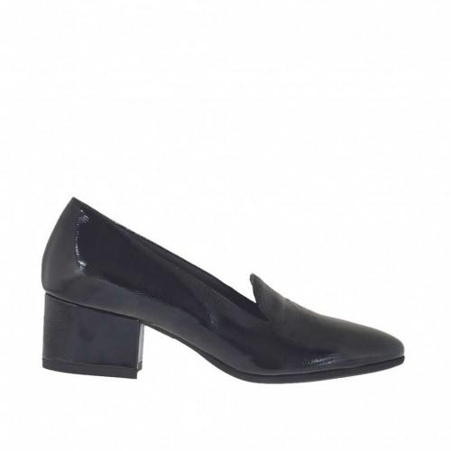 En 4 Para Tacon Mujer Cerrado Zapato Charol Negro QBrCxoshdt