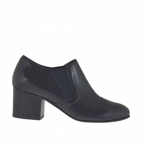 Woman's ankle-high shoe with rubber bands and decorations in black leather heel 5 - Available sizes:  45