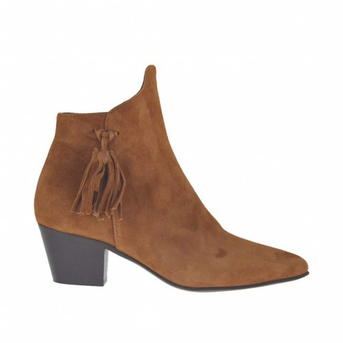 Woman's ankle boot with zipper and tassels in tobacco suede heel 5 - Available sizes:  32, 33, 42