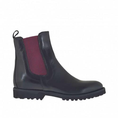 Woman's ankle boot with maroon elastic bands in black leather heel 2 - Available sizes:  33, 34, 47