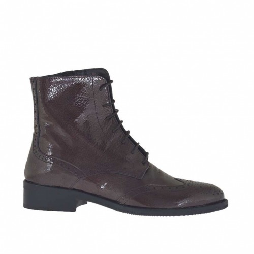 Woman's laced ankle boot with zipper in maroon hammered patent leather heel 3 - Available sizes:  32, 33, 34, 43, 44, 45, 46, 47