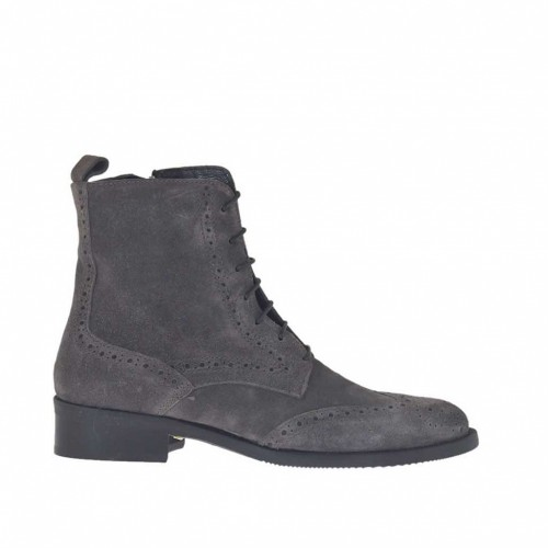 Woman's laced ankle boot with zipper in grey suede heel 3 - Available sizes:  32, 33, 34, 46