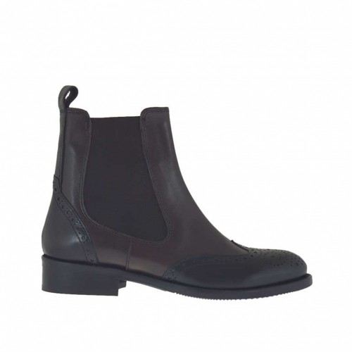 Woman's ankle boot with elastic bands in black and dark brown leather heel 3 - Available sizes:  32, 33, 34, 46, 47