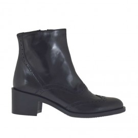 Stivaletto da donna in stile inglese con cerniera interna in pelle nera tacco 5 - Misure disponibili: 47