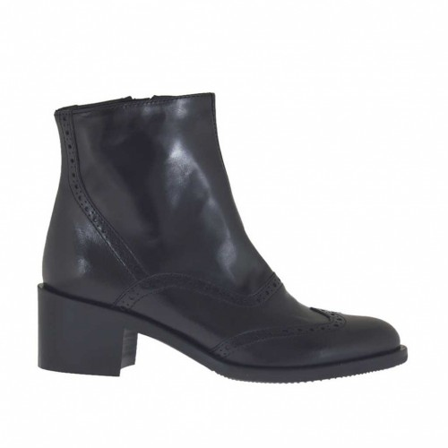 Woman's Oxford style ankle boot with inner zipper in black leather heel 5 - Available sizes:  47