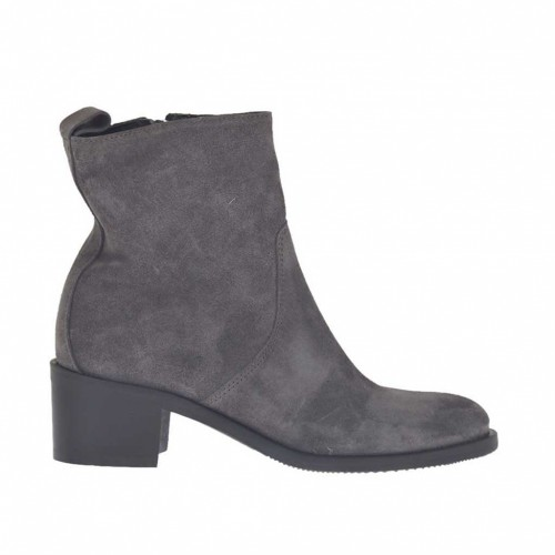 Woman's ankle boot with inner zipper in grey suede heel 5 - Available sizes:  33, 42