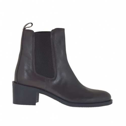 Woman's ankle boot with elastic bands in dark brown leather heel 5 - Available sizes:  45, 46, 47