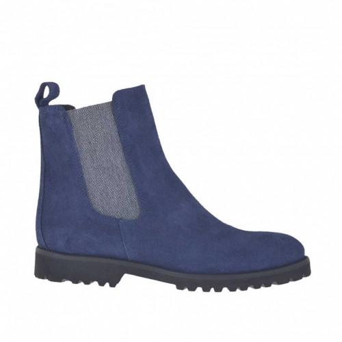 Botines para mujer con elasticos grises en gamuza azul tacon 3 - Tallas disponibles:  32