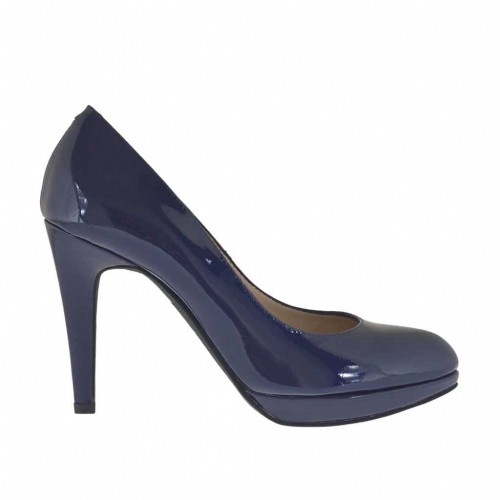 Woman's pump with platform in blue patent leather heel 9 - Available sizes:  47