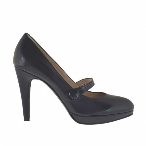 Woman's platform pump in black leather with strap and button heel 9 - Available sizes:  32