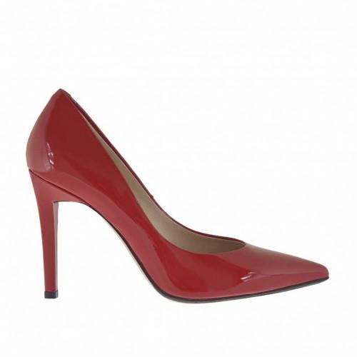 Escarpin pour femmes en cuir verni laqué rouge talon 10 - Pointures disponibles:  31