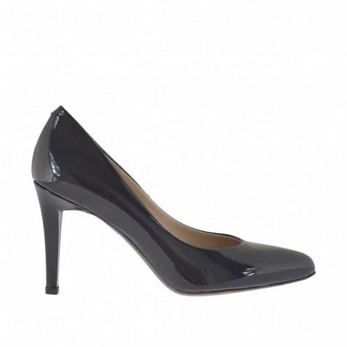 Escarpin de femmes en cuir verni laqué noir metallizé talon 9 - Pointures disponibles:  32