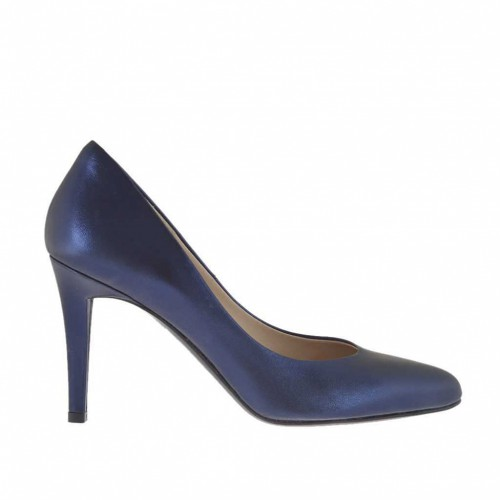 Woman's pump in blue laminated leather heel 9 - Available sizes:  31, 32, 33, 34, 44, 46, 47