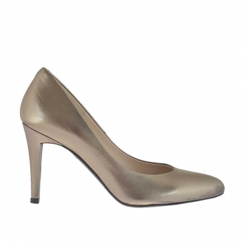 Woman's pump in bronze laminated leather heel 9 - Available sizes:  32, 43