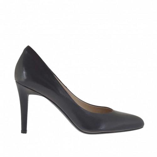 Escarpin à bout arrondi pour femmes en cuir noir talon 9 - Pointures disponibles:  31