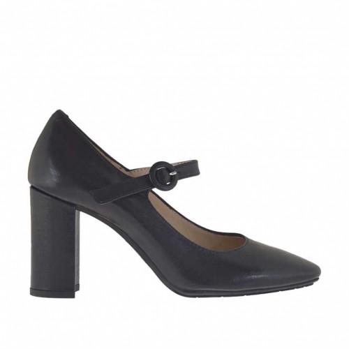 Escarpin pour femmes avec courroie en cuir noir talon 8 - Pointures disponibles:  31, 43, 44, 47