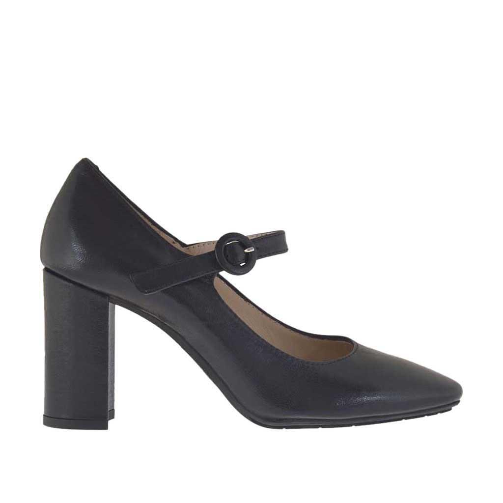 escarpin pour femmes avec courroie en cuir noir talon 8. Black Bedroom Furniture Sets. Home Design Ideas
